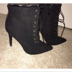 Black Pointed Lace Up Booties